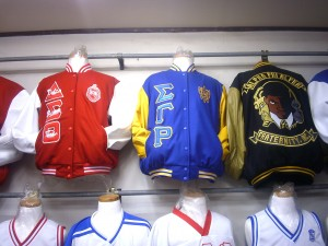 Sigma Gamma Rho,Delta Sigma Theta and Alpha Phi Alpha jackets at MJ's.